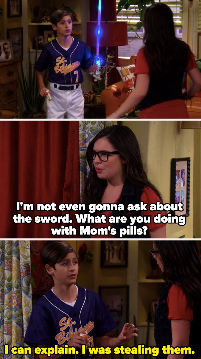 Elena catching Alex stealing their Mom's pills