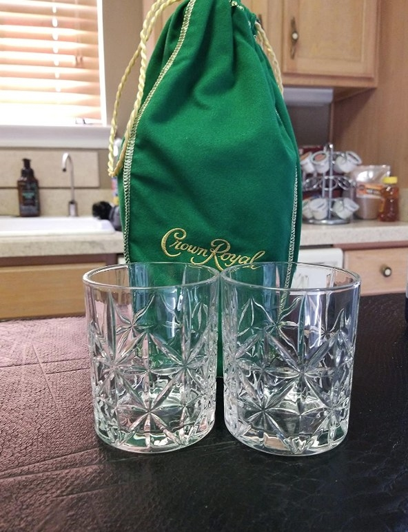 Two crystal whiskey glasses