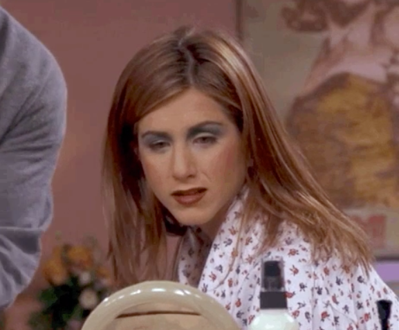 """A heavily made-up Jennifer Aniston from """"Friends"""""""