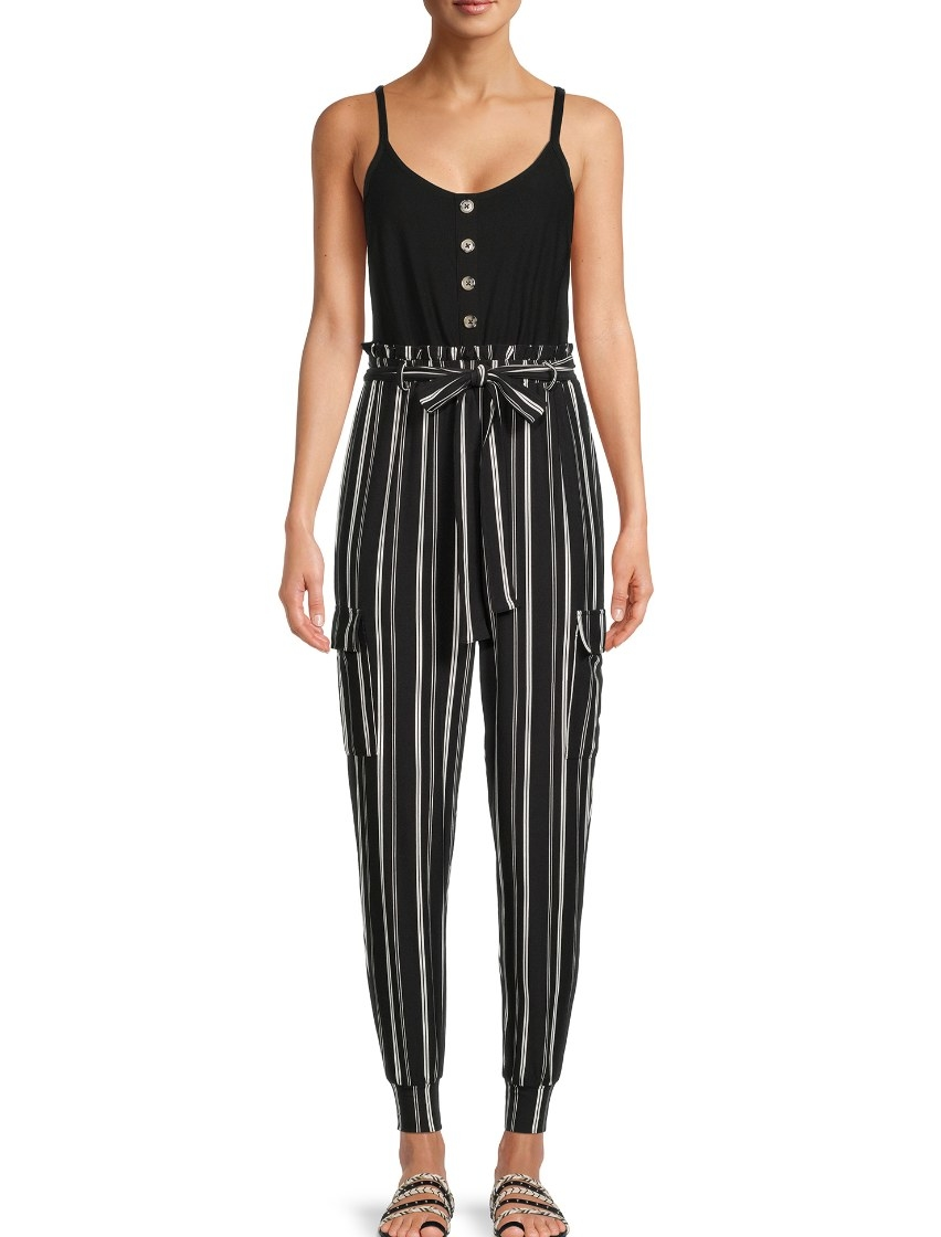 the striped paperbag waist pants jumpsuit in black soot