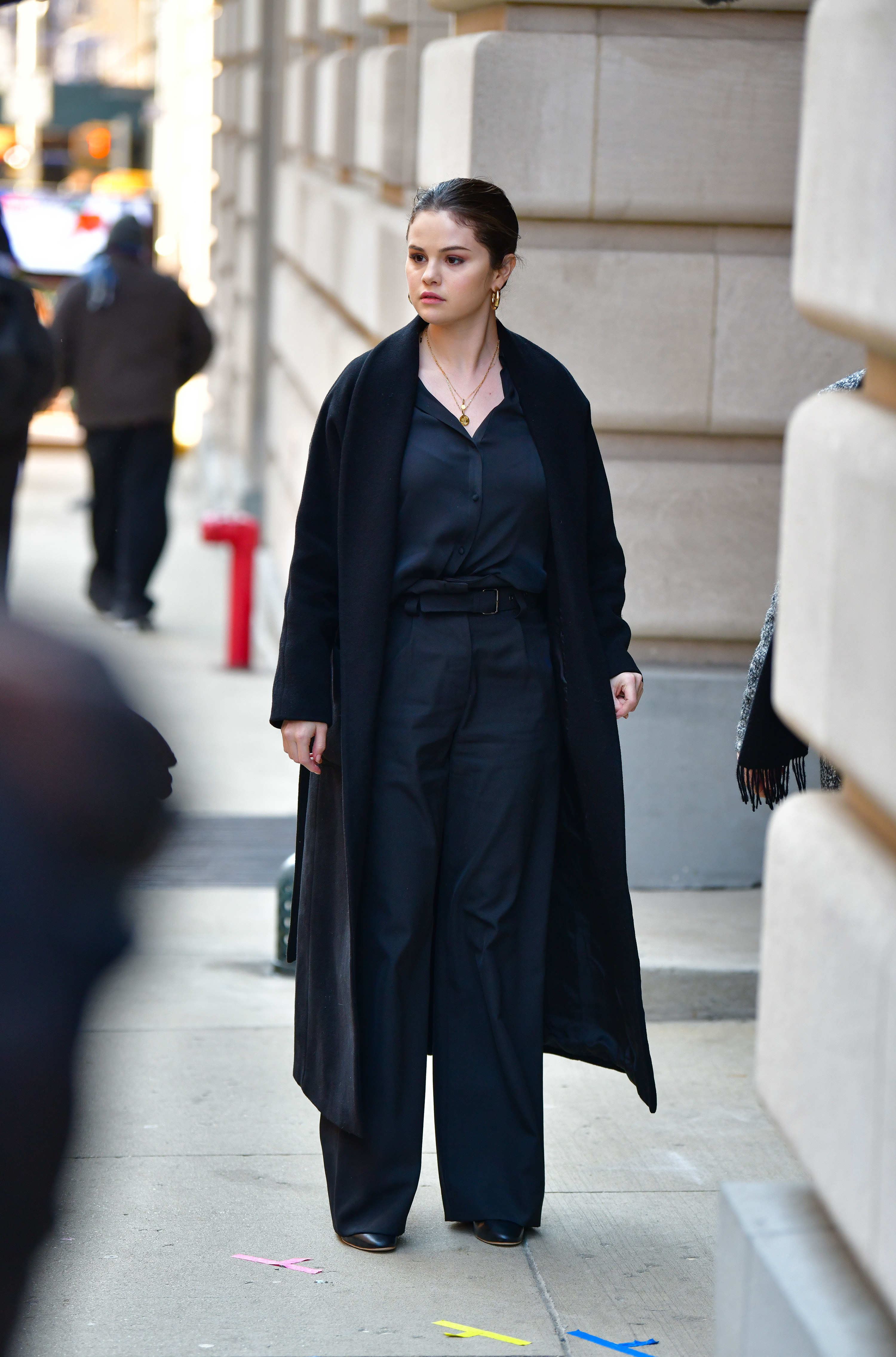 Selena Gomez is photographed on the set of Only Murders in the Building