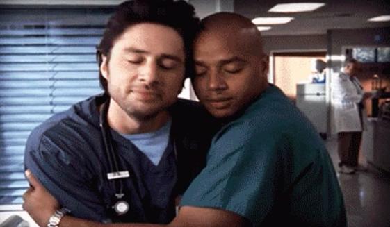 "Zach and Donald hug on ""Scrubs"""