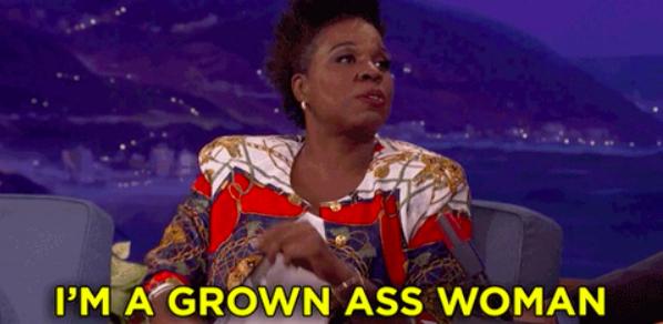 "Leslie Jones on talk show saying ""I'm a grown-ass woman"""
