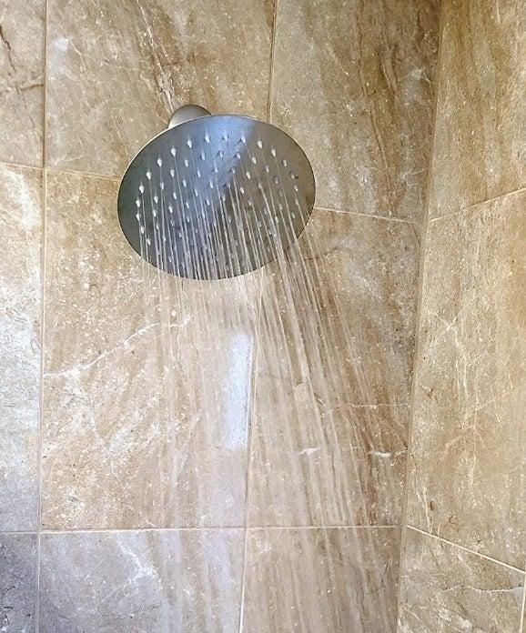 A high-pressure, chrome rain showerhead