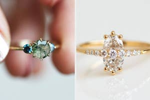 to the left: a moss stone ring, to the right: an oval diamond ring