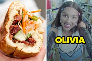 """On the left, a banh mi sandwich, and on the right, Olivia Rodrigo in the """"Good 4 U"""" music video labeled """"Olivia"""""""