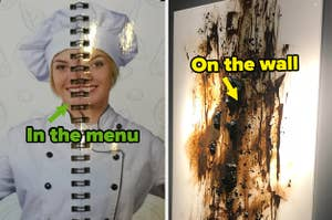 """""""in the menu"""" over a woman's face divided by a book spine, next to a painting that looks like feces and the words """"on the wall"""""""