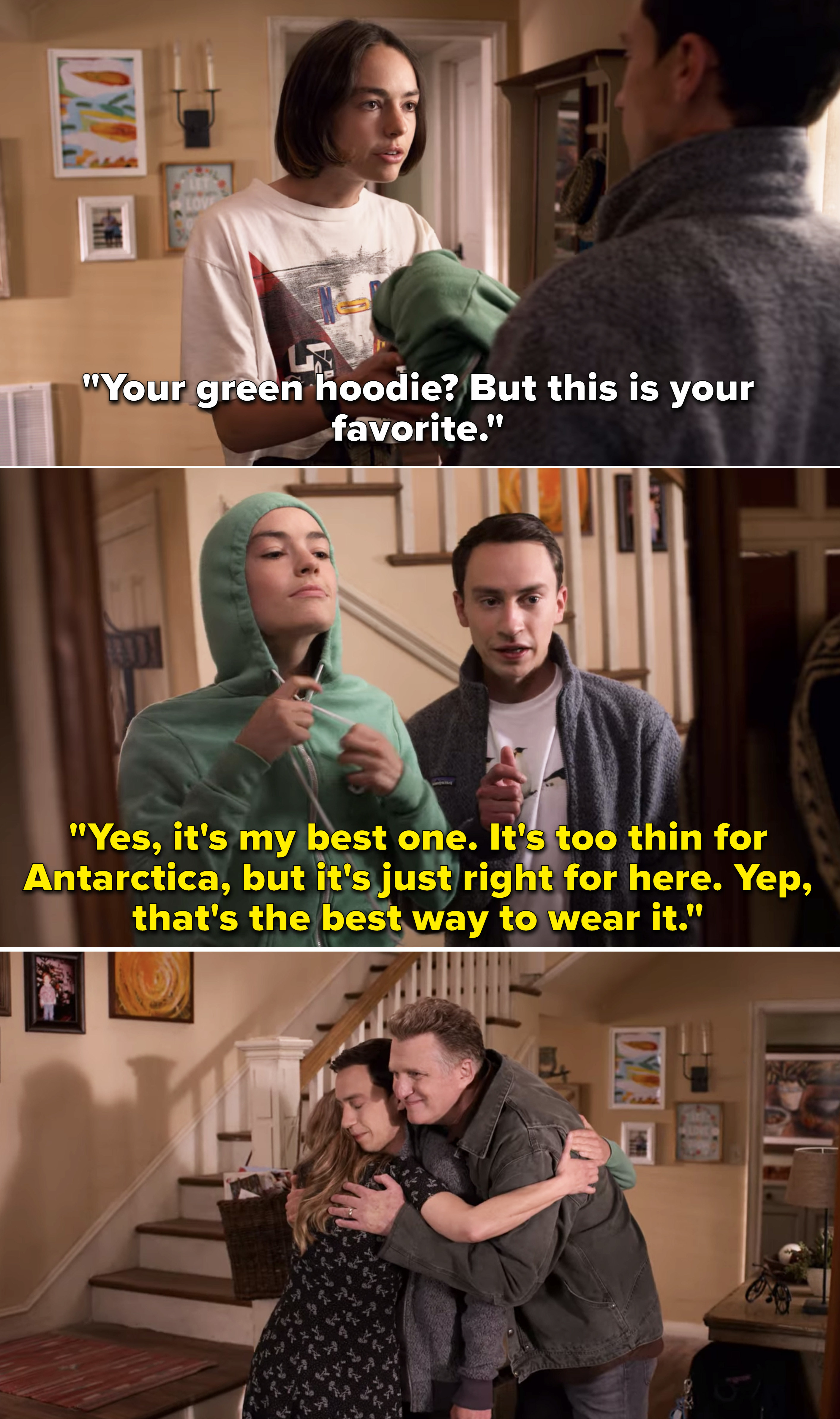 """Sam giving Casey his favorite green hoodie because it's """"too thin for Antarctica"""" and Casey wearing it with the hood up"""