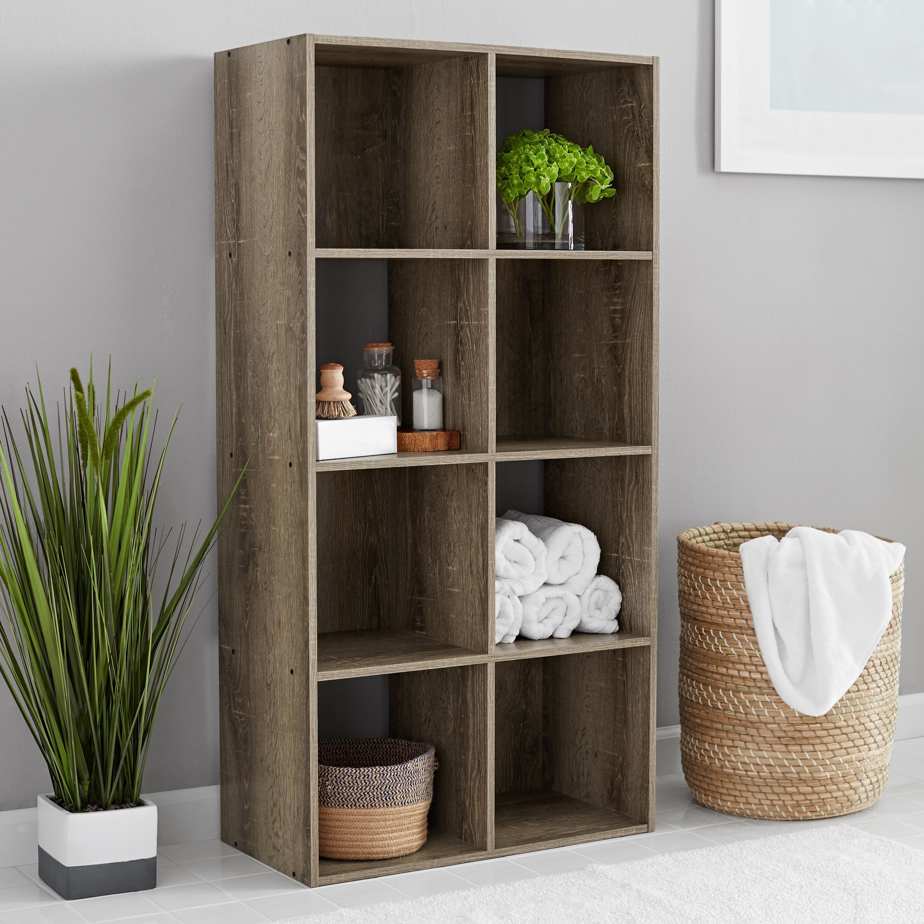 the wooden bookcase