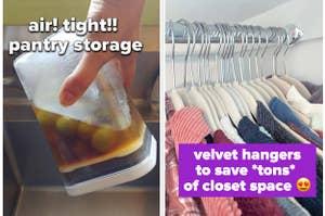 pantry storage and velvet hangers