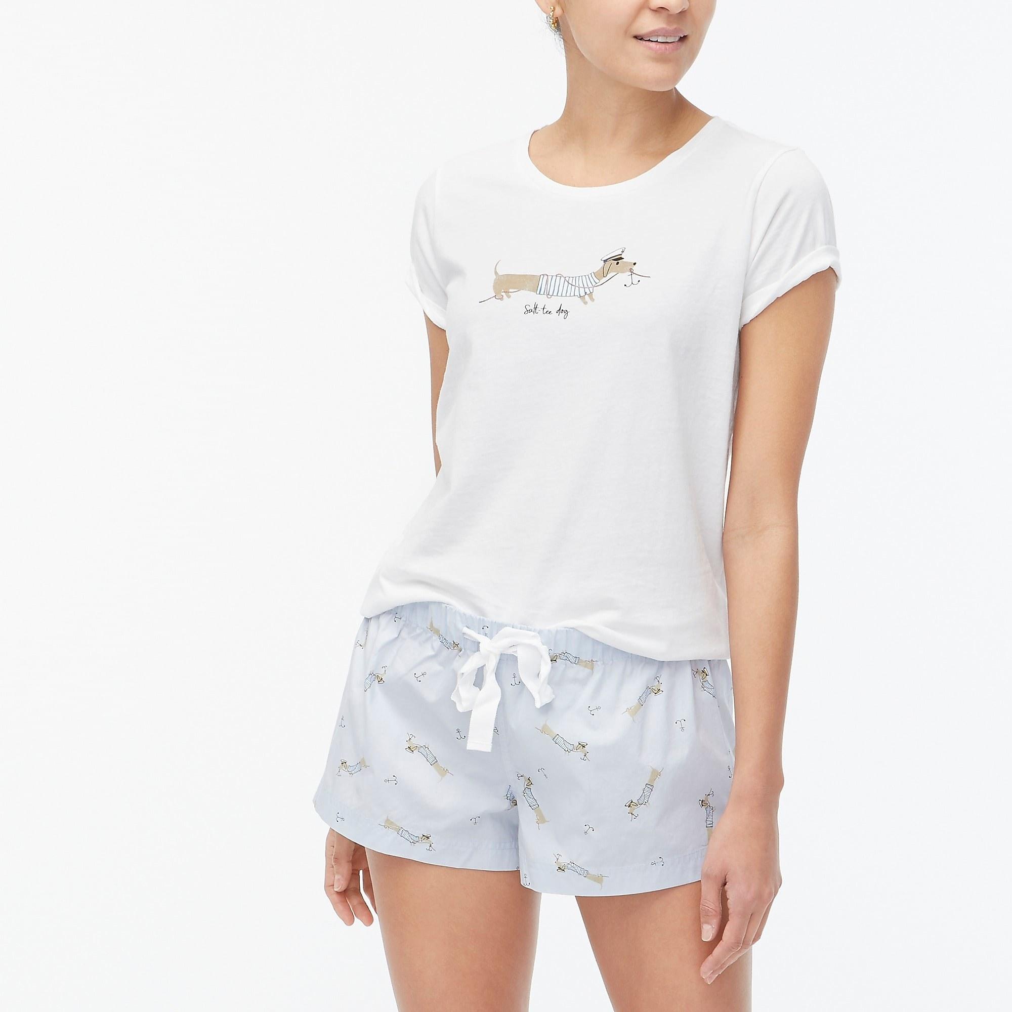 model wearing the cotton sleep shorts