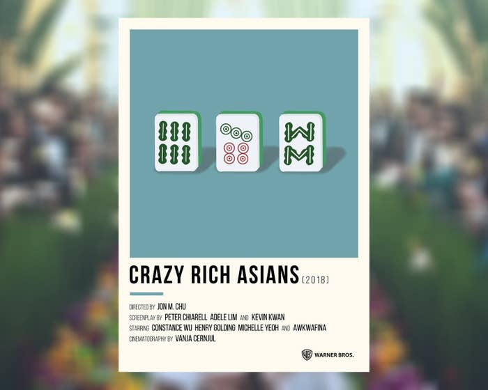 crazy rich asains poster with a design of mahjong pieces on it