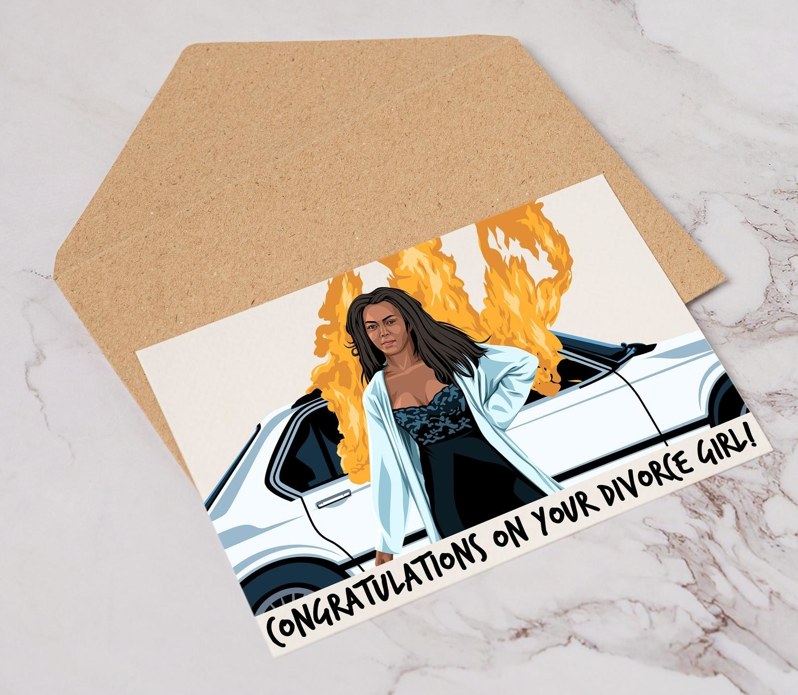 """greeting card that says """"congratulations on your divorce, girl"""" with a design of angela bassett on it"""