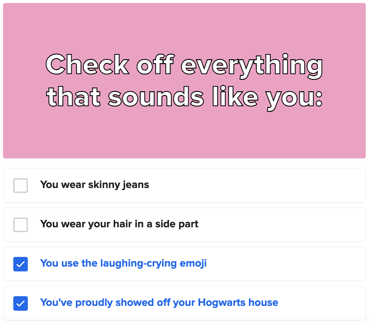 """A quiz question asking how many """"uncool"""" things you still do like using the laughing-crying emoji"""