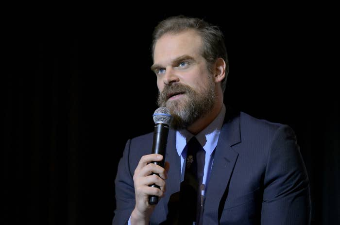 David Harbour speaks onstage at a Stranger Things QA