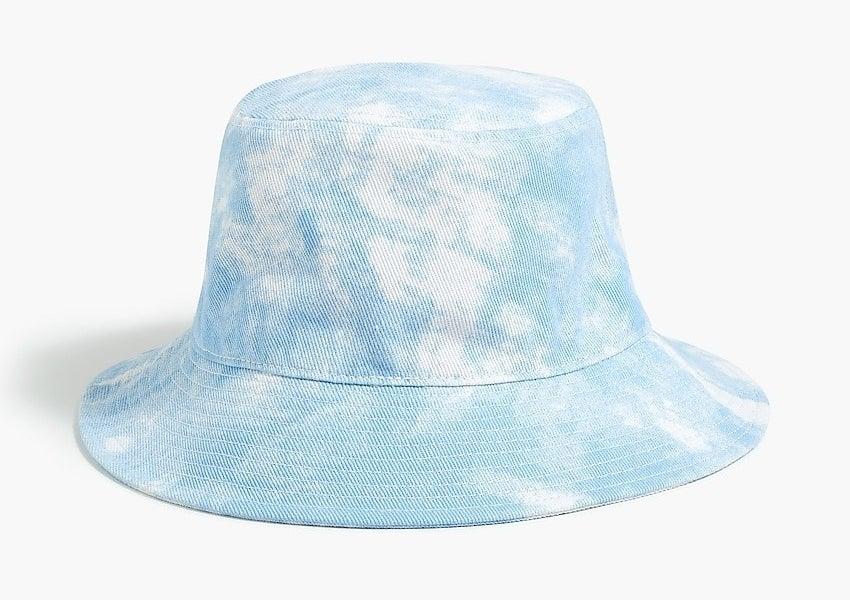 blue tie-dyed bucket hat
