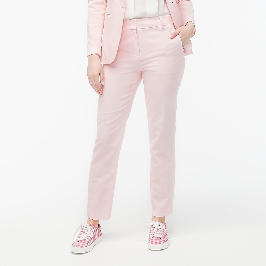 model wearing pink linen pants