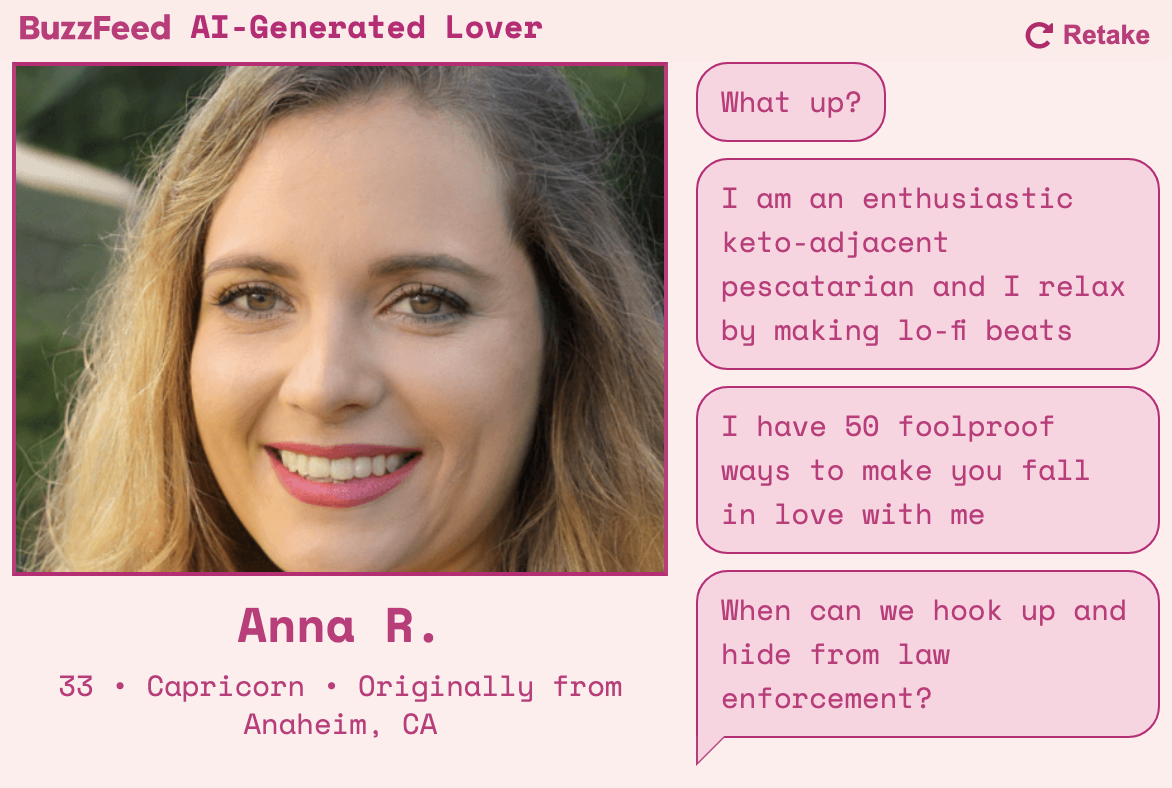 An AI-generated dating profile for a keto-adjacent pescatarian named Anna who makes lo-fi beats