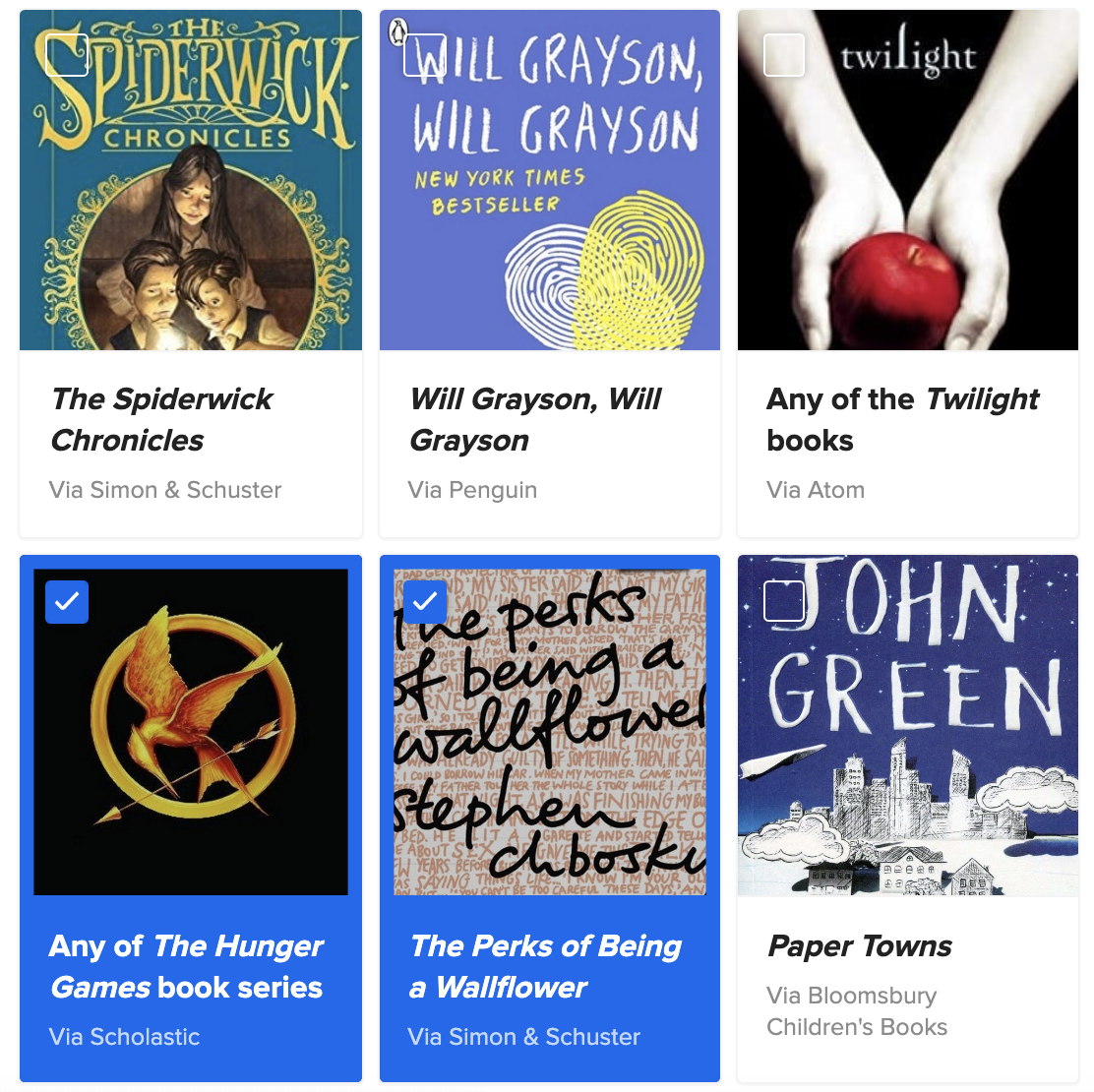 A quiz question asking you to check off which books you've read
