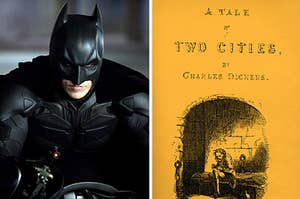 batman in the dark knight rises and the cover of a tale of two cities by charles dickens