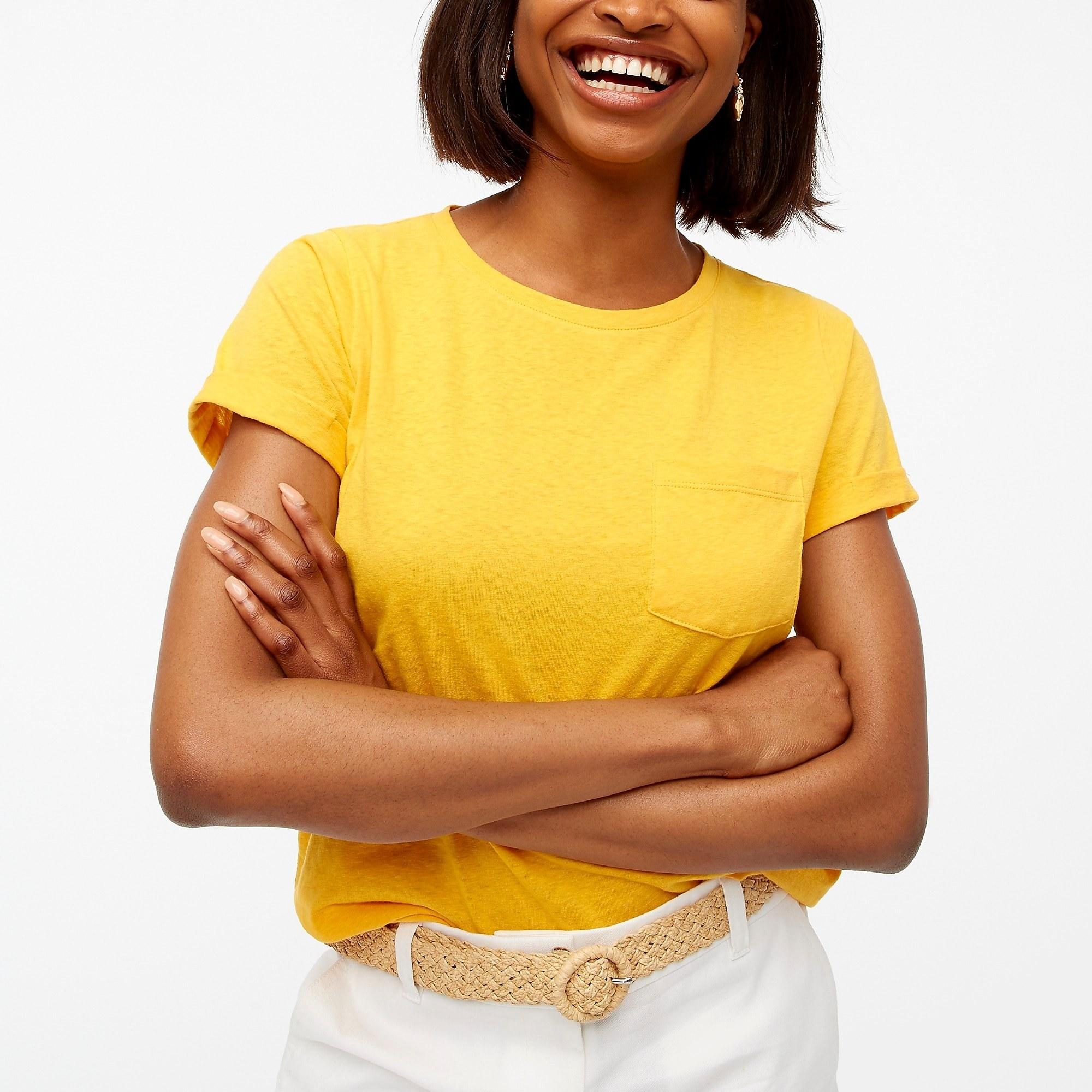 model wearing slub cotton-blend rolled short sleeve tee