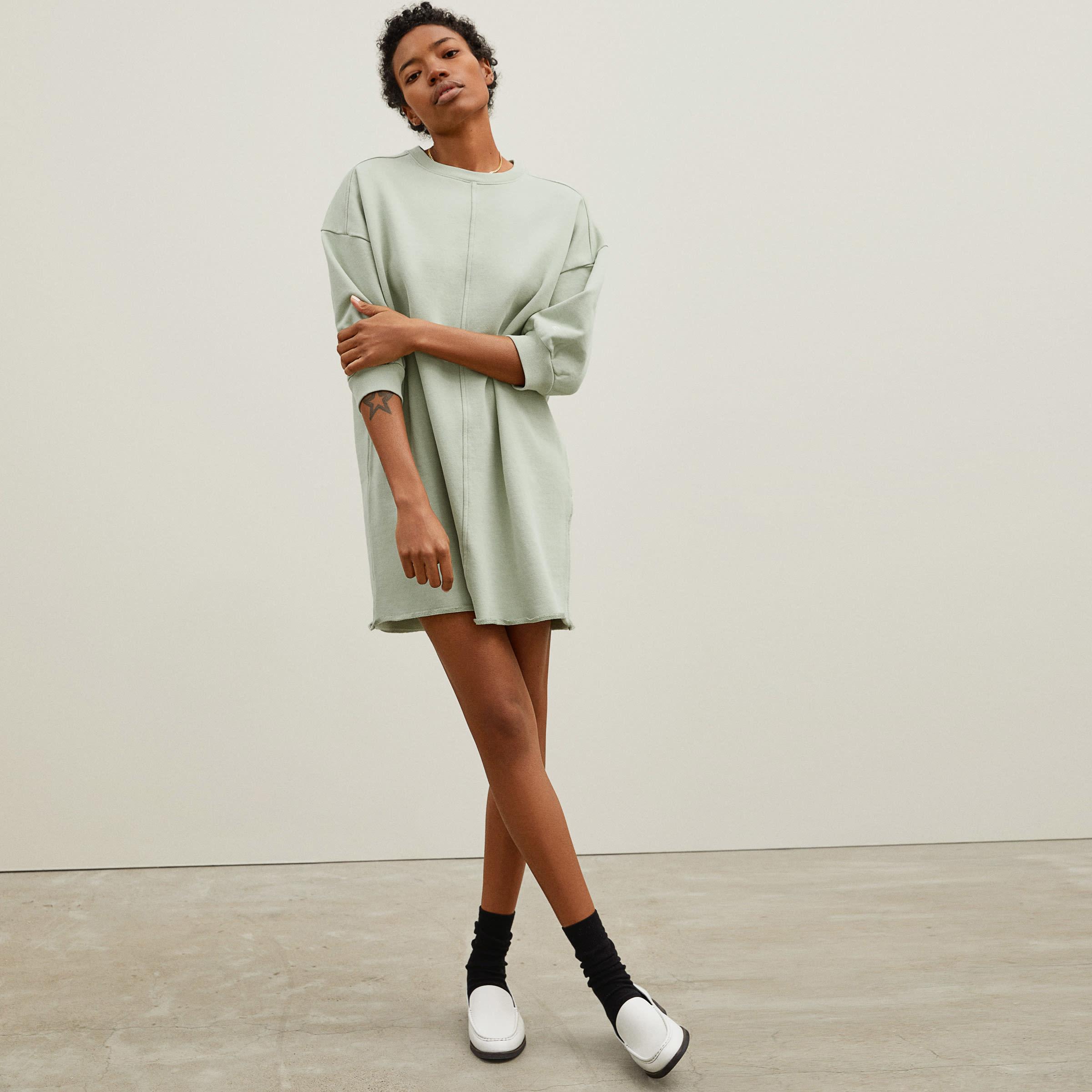 a model in a sage green long sleeve dress