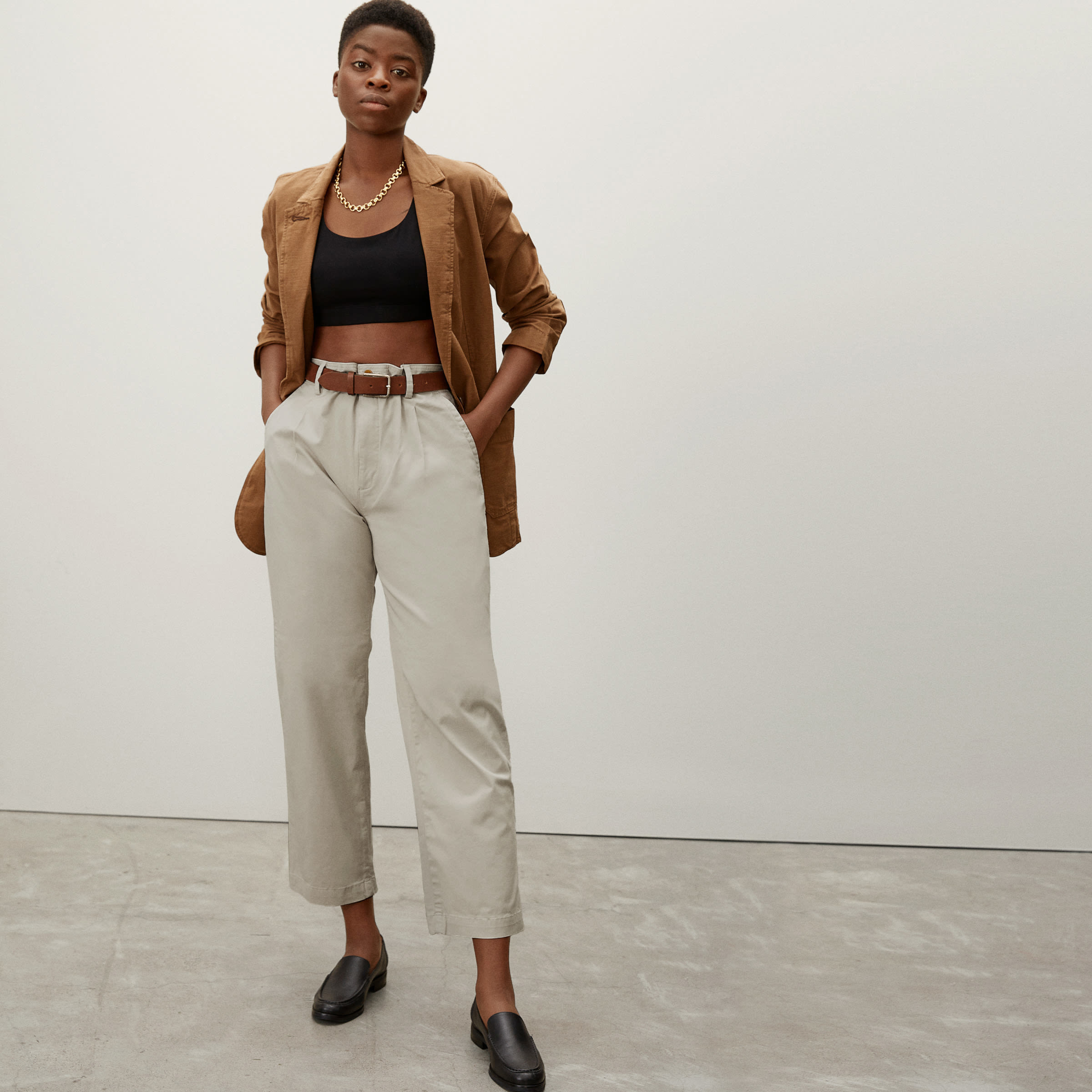 a model in tan chinos