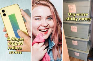 a model rubbing their finger along the fidget strip a buzzfeed employee using a microfiber cloth to remove lipstick and dry erase sticky notes