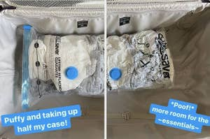 before and after of clothes being put in vacuum seal storage bags