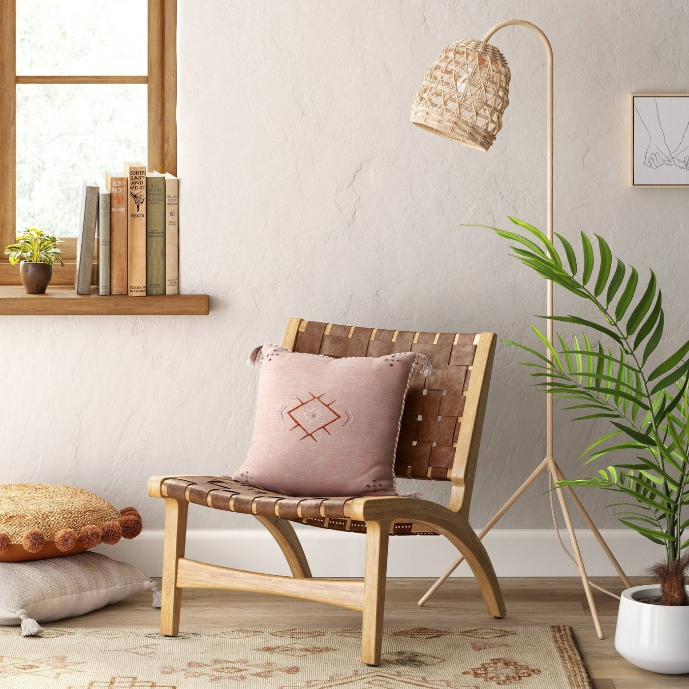 accent chair with wood frame and weave-inspired design on set and back