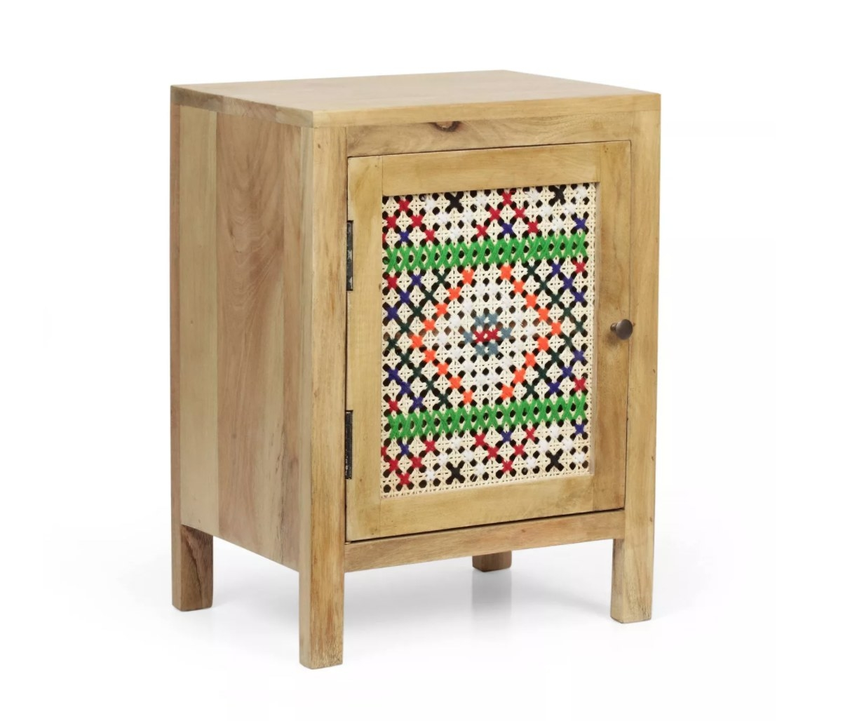 mango wood nightstand with multicolored details