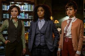 Michelle Yeoh as Florence, Angela Bassett as Anna May, Carla Gugino as Madeleine in Gunpowder Milkshake