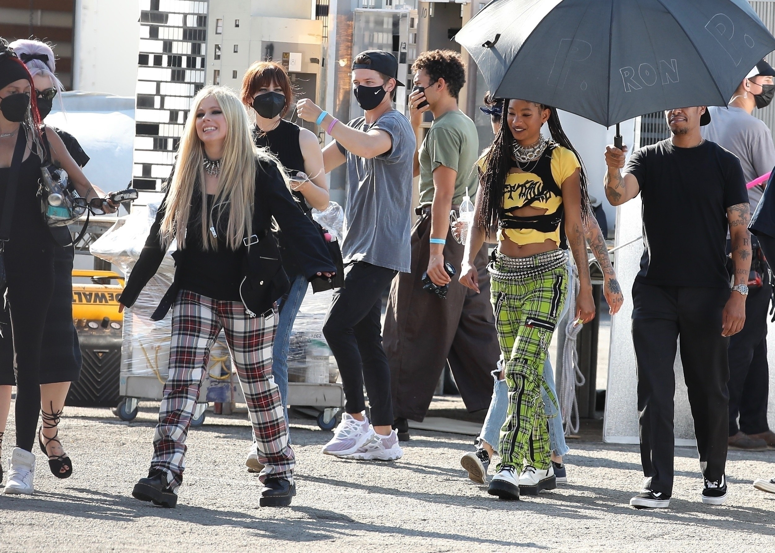 Avril and Willow walking on set