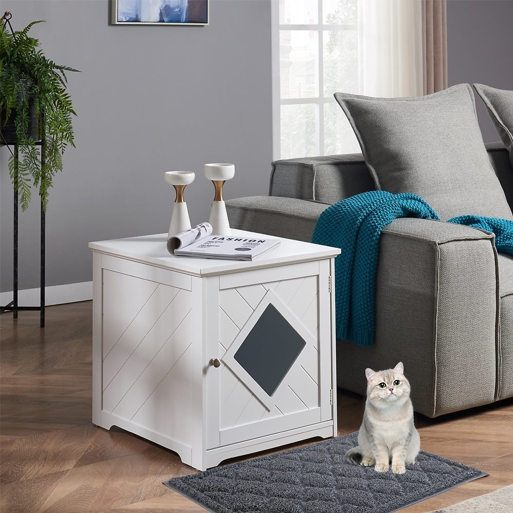 the litter box that looks like a white side table with a door