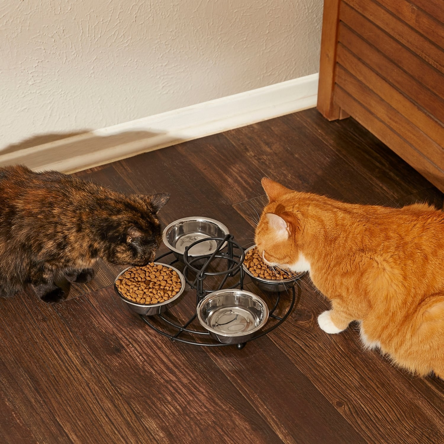 two cats eating out of the feeding station
