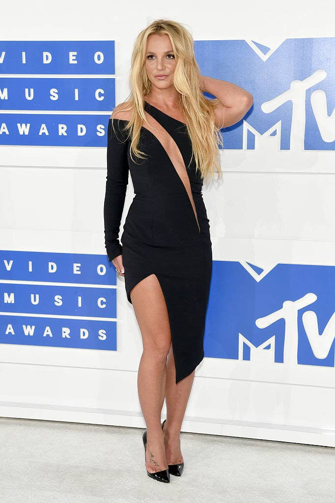 Britney at the MTV Video Music Awards, wearing a very slinky black dress