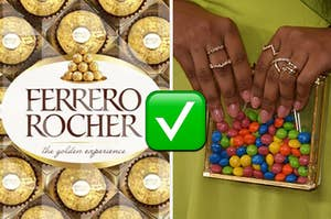 Ferrero Rocher is on the left with a woman holding a bag of Skittles on the right