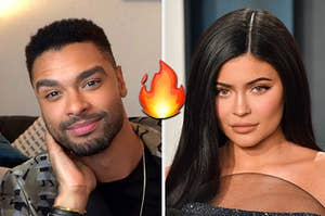 Rege is on the left with a flame written in the center and Kylie Jenner on the right