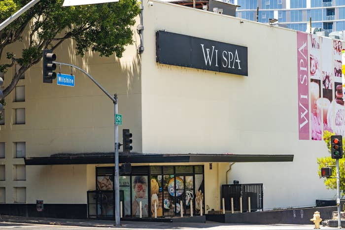 """A pale building with """"Wi Spa"""" on the exterior at Wilshire Boulevard"""