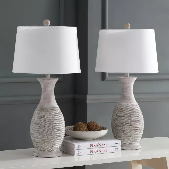 The gray table lamps