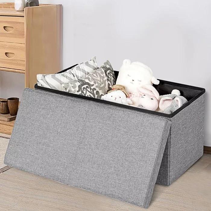 The gray storage bench