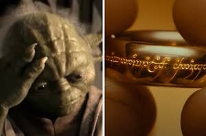 Yoda is on the left looking at a man holding a ring on the right