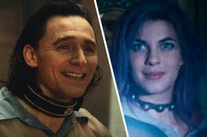 Loki smiles while wearing a metal collar and a close up of Nymphadora Tonks as she smiles