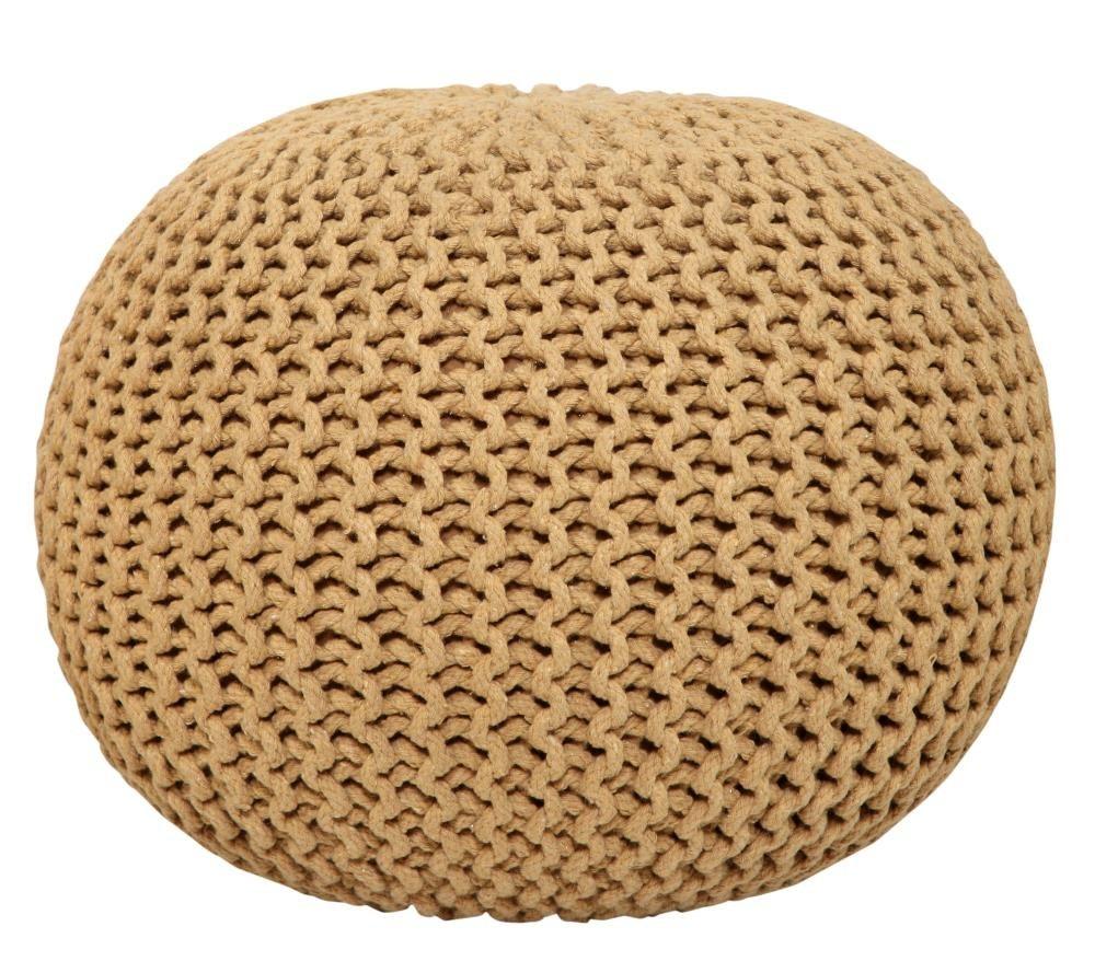 A modern khaki pouf ottoman