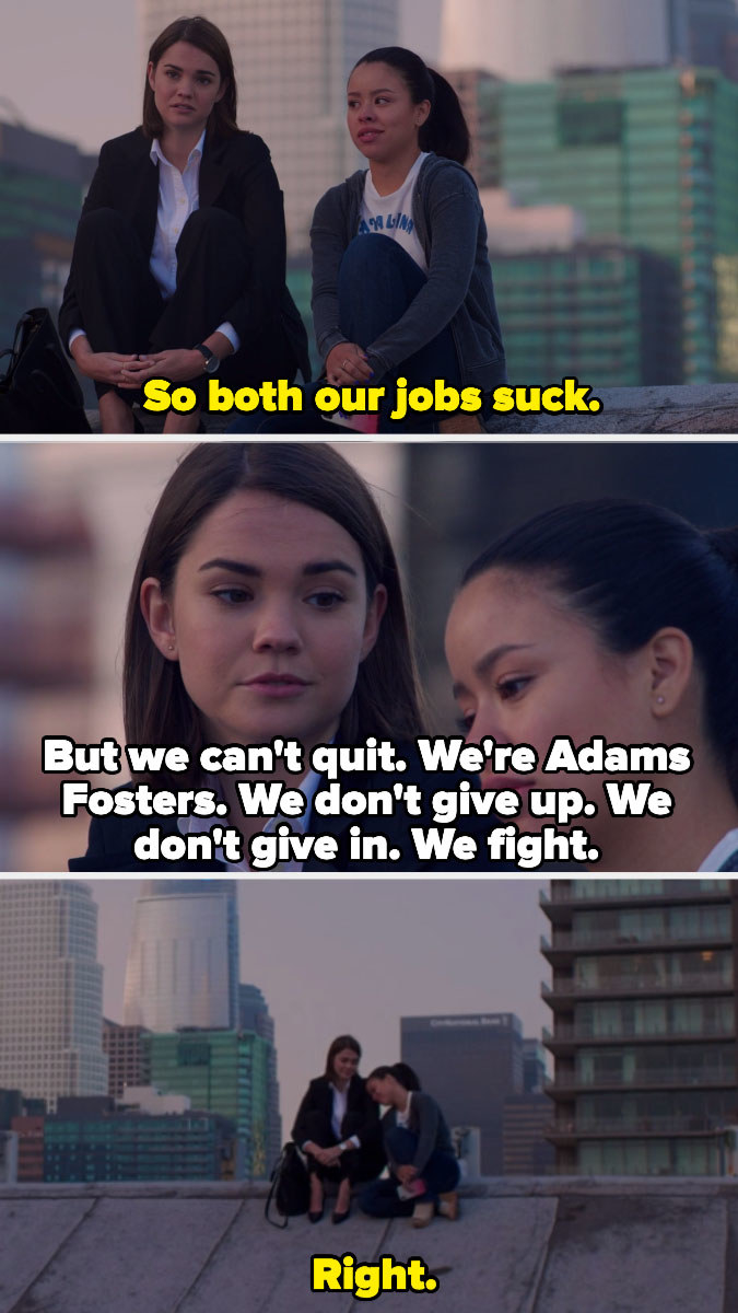 Callie and Mariana supporting each other even though both of their jobs suck