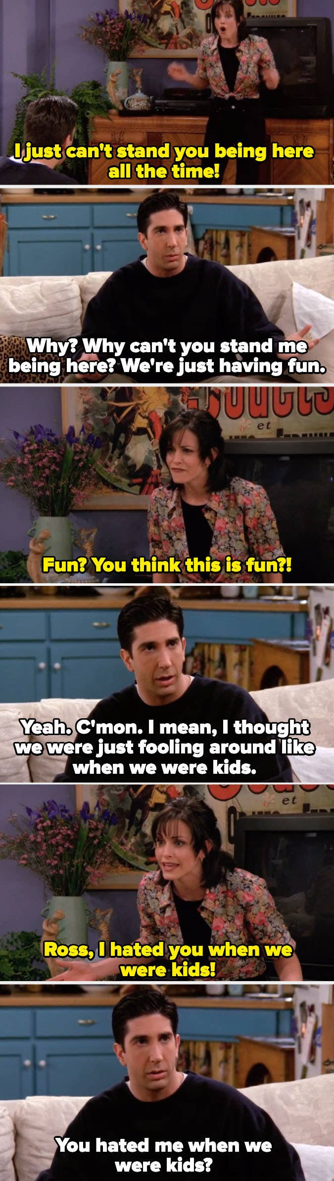 Monica telling Ross she hated him when they were kids