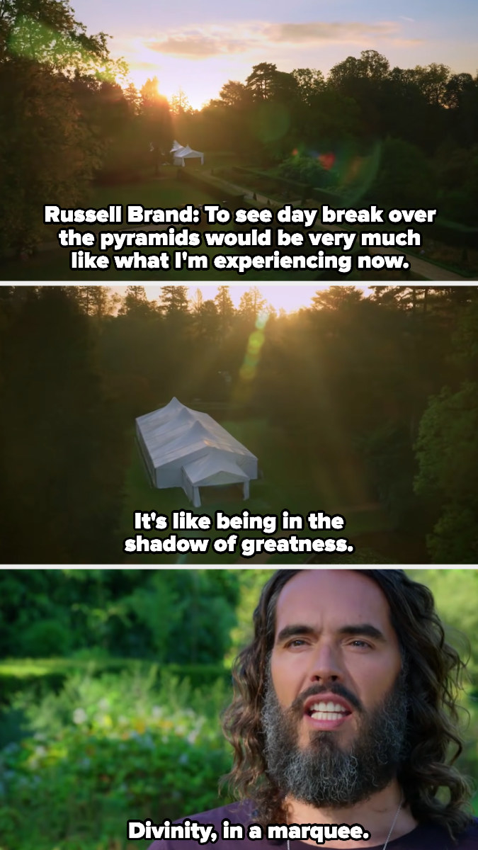 """Russell Brand calls the tent """"divinity, in a marquee"""""""