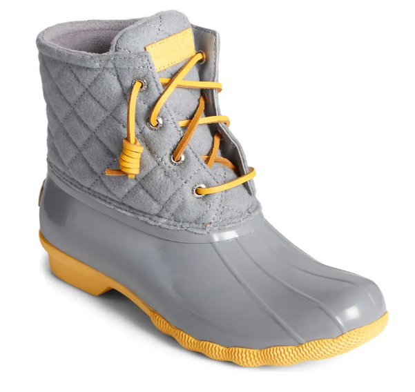 TheSaltwater Quilted Waterproof Rain Boot in gray