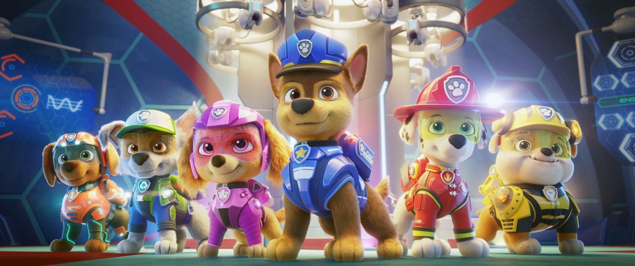 from left is the animated movie paw patrol starring Zuma (voice: Shayle Simons), Rocky (voice: Callum Shoniker), Skye (voice: Lilly Bartlam), Chase (voice: Iain Armitage), Marshall (voice: Kingsley Marshall), Rubble (voice: Keegan Hedley)