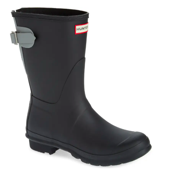 The Original Short Back Adjustable Waterproof Rain Boot in black and gray